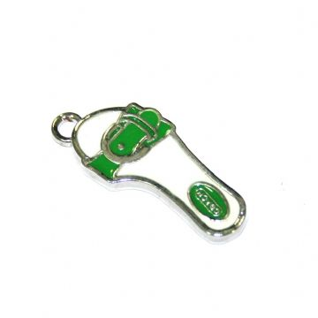 1pce x 24*11mm Rhodium plated green sandals enamel charm - SD03 - CHE1086